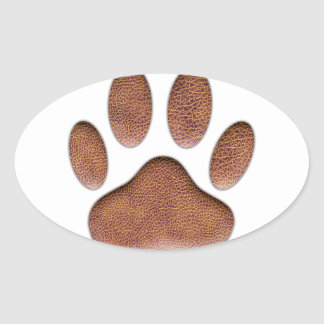 Leather Texture Dog Paw Print Oval Sticker