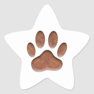 Leather Texture Dog Paw Print Star Sticker