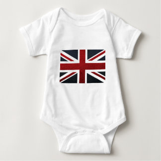 Leather Texture Pattern Union Jack British(UK) Fla Baby Bodysuit