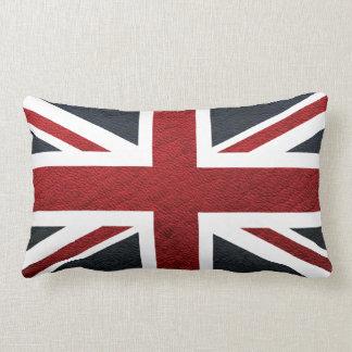 Leather Texture Pattern Union Jack British(UK) Fla Lumbar Pillow