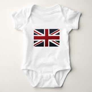 Leather Texture Pattern Union Jack British(UK) Fla Tee Shirt
