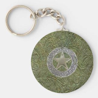 Leather Tool Design w/Star Concho ~ Keychain