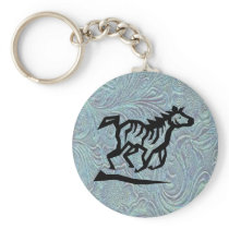 Leather Tool Print Design Horse Keychain