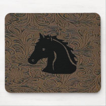 Leather Tool Print Design W/Horse Head Mousepad
