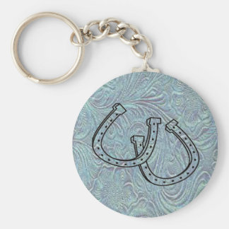 Leather Tool Print Design W/Horseshoes Keychain