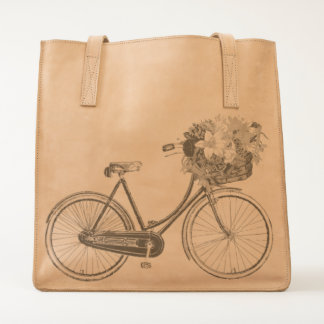 leather tote bag bike antique bicycle flower