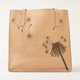 leather tote bag dandelion wishes flower