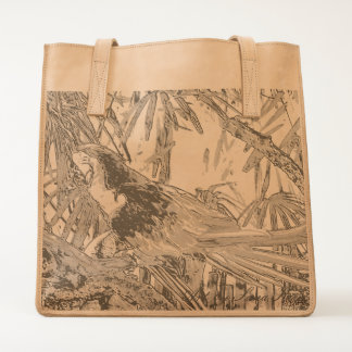 Leather Tote. Cheerful Parrot Art Tote