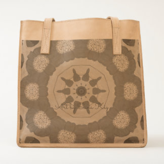 Leather Tote. Poppies. Art Tote