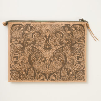 Leather Travel Pouch Floral Doodle Drawing