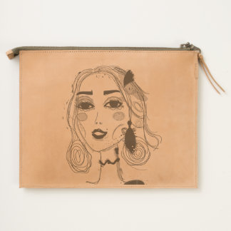 Leather travel pouch with Elven girl design