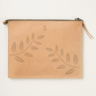 Leather Travel Pouch with Fern Design