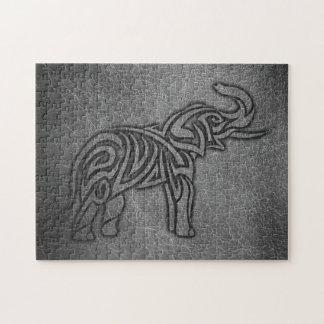 Leather Tribal Elephant Jigsaw Puzzle