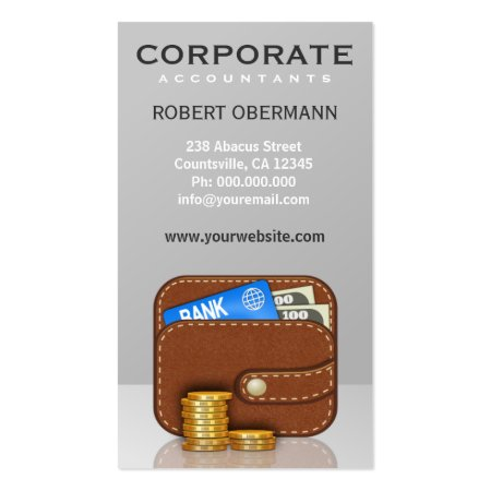Brown Wallet and Coins Financial Planner Business Card Template