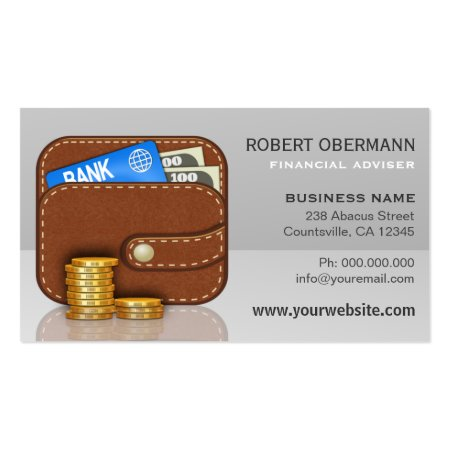 Brown Leather Wallet and Stack of Gold Coins Financial Adviser Business Card Template