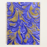 "Leather Wallet Texture Blue Embossed Planner<br><div class=""desc"">Make sense of your day with this unique Planner to aid you in planning your day, week, month and all year long! Keep on track with this Custom Planner - Get this planner to help you keep on track during the month and days ahead. Created by JoSunshine Designs Copyright 2018...</div>"