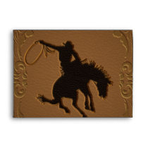 Leather Western Wild West Cowboy Birthday Party Envelope