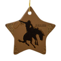 Leather Western Wild West Rustic Country Cowboy Ceramic Ornament