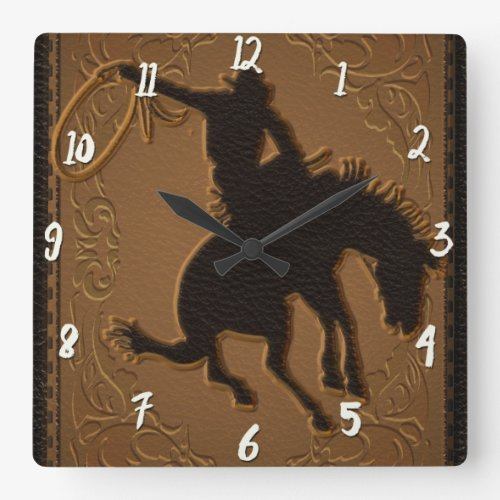 Leather Western Wild West Rustic Country Cowboy Square Wall Clock