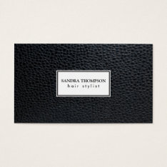 Leather / White Frame Business Card at Zazzle