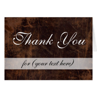 LeatherLook Brown/White Executive Thank You Custom Stationery Note Card