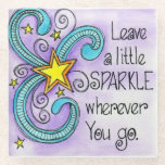 "Leave A Little Sparkle Glass Coaster<br><div class=""desc"">&quot;Leave A Little Sparkle&quot; is a watercolor painting of a whimsical yellow star surrounded by teal blue swirls over a purple background. The design is accented by the text, &quot;Leave a little sparkle wherever you go.&quot; This colorful design was created by Debi Payne Designs. Select the products that you use...</div>"
