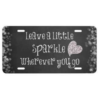 Leave a Little Sparkle Wherever You Go Quote License Plate