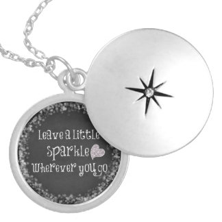 Leave a Little Sparkle Wherever You Go Quote Silver Plated Necklace