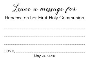 leave a message communion baptism christening card