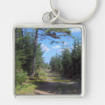 Leave A Trail Silver-Colored Square Keychain