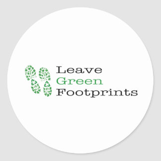 Leave Green Footprints Classic Round Sticker
