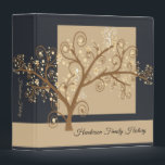 """Leave No Stone Unturned Genealogy 3 Ring Binder<br><div class=""""desc"""">A Whimsical family tree graces the the cover of this best selling,  modern,  personalized genealogy binder. Record and organize your ancestor records and photos in this black and beige family tree album.</div>"""