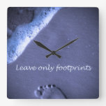 Leave Only Footprints - Blue Square Wallclock