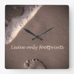 Leave Only Footprints Square Wall Clocks