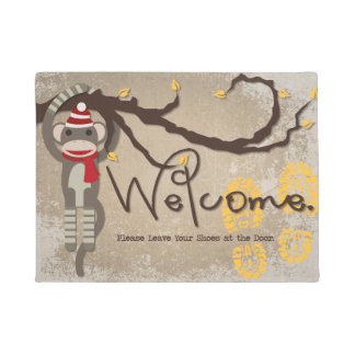 Leave Your Shoes at the Door Sock Monkey Doormat