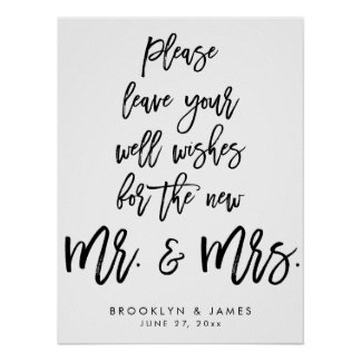Leave Your Well Wishes Wedding Sign White Poster