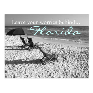 Leave your worries behind - Florida black & white Postcard