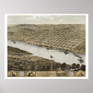 Leavenworth KS - Vista aérea del mapa -1869 de la Poster