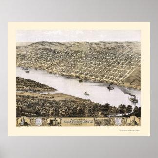 Leavenworth, mapa panorámico de KS - 1869 Póster