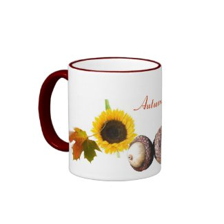 Leaves, Acorns, and Sunflowers mug