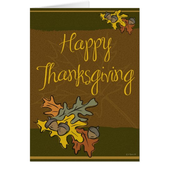 Leaves and Acorns Thanksgiving Card