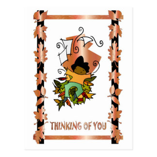 Leaves and an autumn mannikin postcard