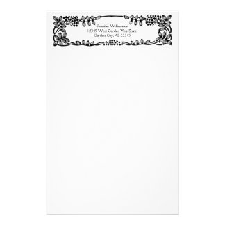 Leaves and Berries Scroll Vine Black Border Custom Stationery