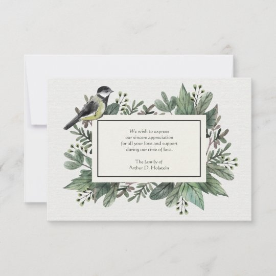 leaves and bird bereavement thank you card - Sympathy Thank You Cards