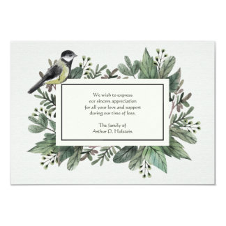Leaves and Bird Bereavement Thank You Card