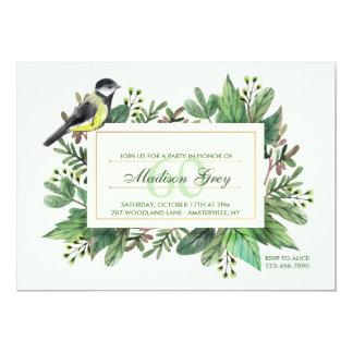 Leaves and Bird Invitation