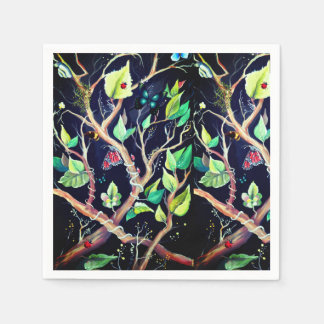 Leaves and butterflies painting paper napkin