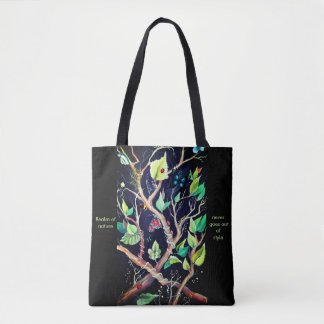 Leaves and butterflies painting tote bag