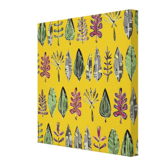 leaves and feathers saffron stretched canvas print