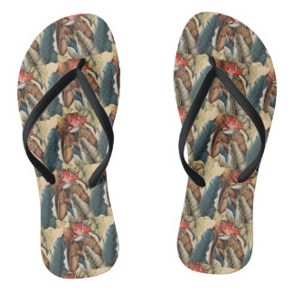 LEAVES AND FLOWER SLEEPERS FLIP FLOPS